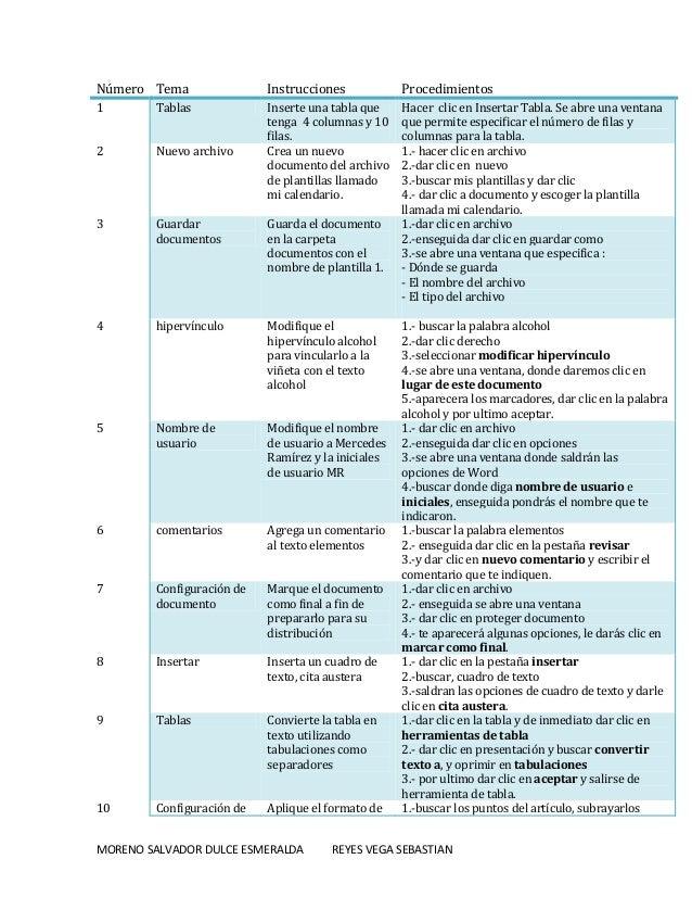Número Tema  Instrucciones  Procedimientos  1  Tablas  2  Nuevo archivo  Inserte una tabla que tenga 4 columnas y 10 filas...