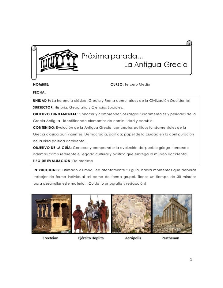 NOMBRE:                                     CURSO: Tercero MedioFECHA:UNIDAD 9: La herencia clásica: Grecia y Roma como ra...