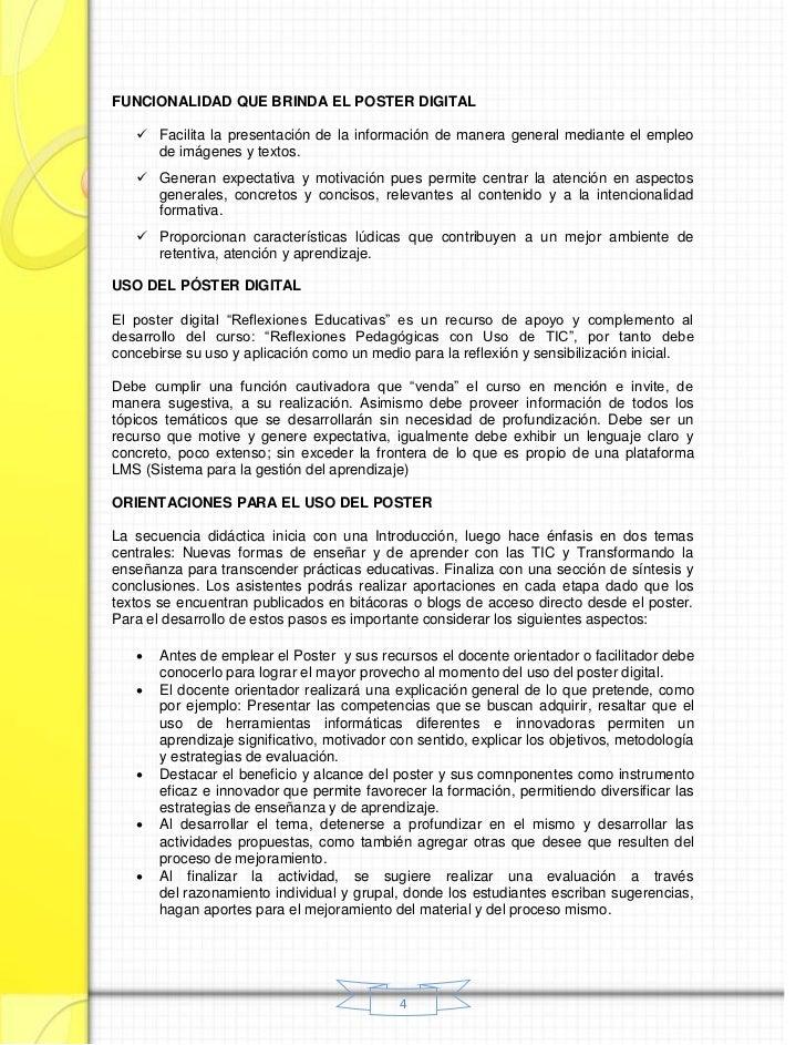 FUNCIONALIDAD QUE BRINDA EL POSTER DIGITAL    Facilita la presentación de la información de manera general mediante el em...