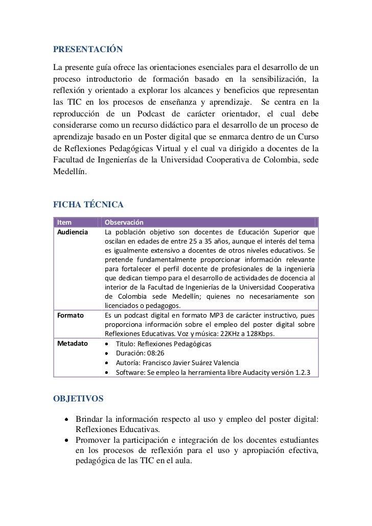 PRESENTACIÓNLa presente guía ofrece las orientaciones esenciales para el desarrollo de unproceso introductorio de formació...