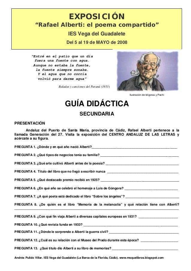"""Andrés Pulido Villar. IES Vega del Guadalete (La Barca de la Florida, Cádiz). www.msquelibros.blogspot.com EXPOSICIÓN """"Raf..."""