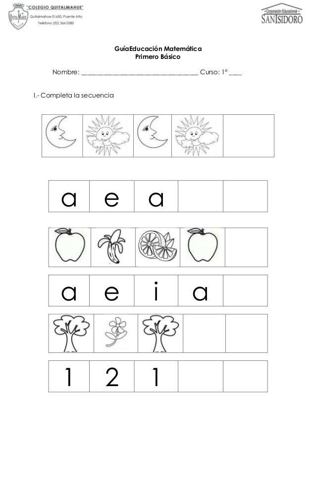 Guía educación matemática 1° básico (secuencias numércicas)
