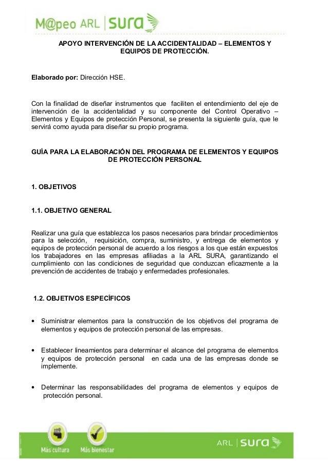 APOYO INTERVENCIÓN DE LA ACCIDENTALIDAD – ELEMENTOS Y EQUIPOS DE PROTECCIÓN. Elaborado por: Dirección HSE. Con la finalida...