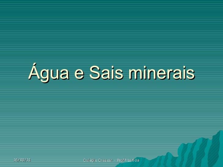 Água e Sais minerais 16/03/11 Colégio Crescer - Profª Letícia