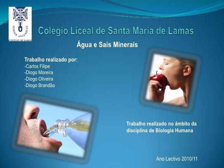 Colégio Liceal de Santa Maria de Lamas<br />Água e Sais Minerais<br />Trabalho realizado por:<br />-Carlos Filipe<br />-Di...