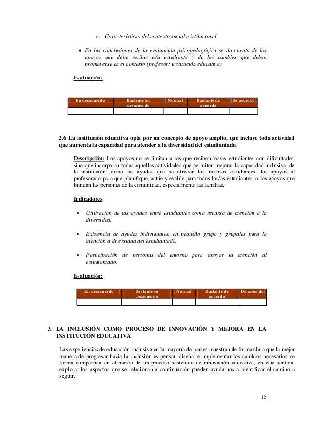 15 o Características del contexto social e intitucional  En las conclusiones de la evaluación psicopedagógica se da cuent...