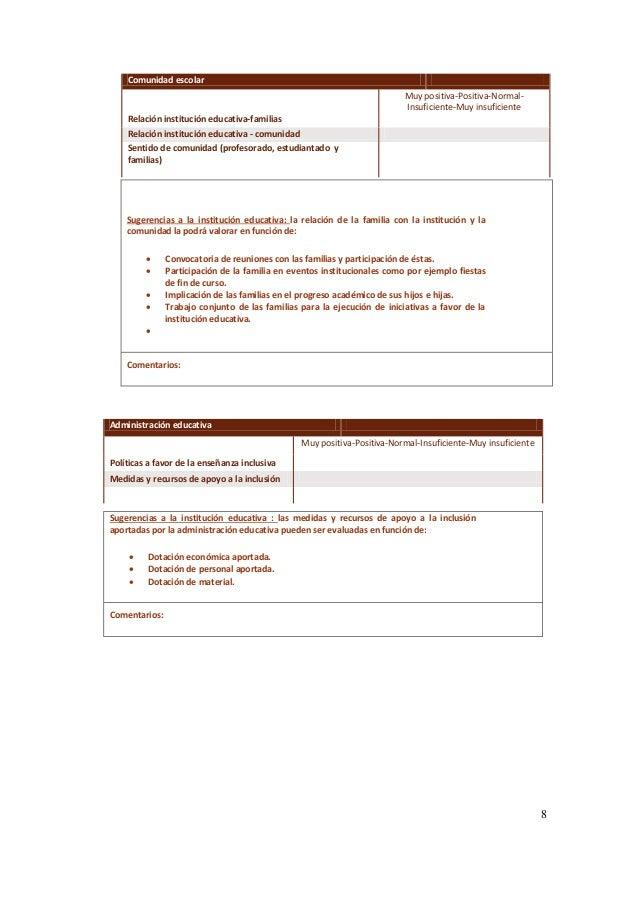 8 Comunidad escolar Muy positiva-Positiva-Normal- Insuficiente-Muy insuficiente Relación institución educativa-familias Re...