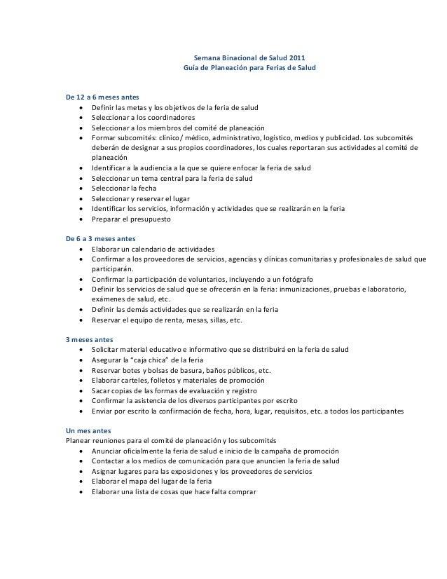SemanaBinacionaldeSalud2011 GuíadePlaneaciónparaFeriasdeSalud   De12a6mesesantes • Definirlasmetasy...