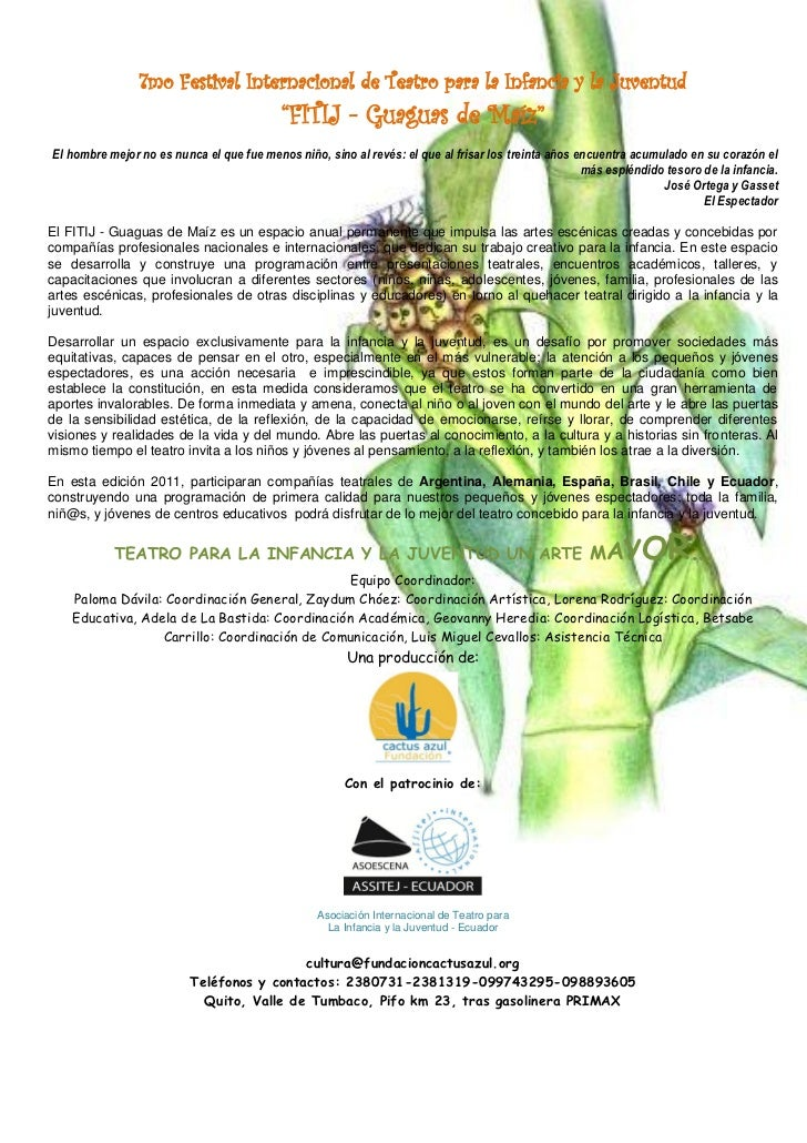 """7mo Festival Internacional de Teatro para la Infancia y la Juventud                                           """"FITIJ - Gua..."""