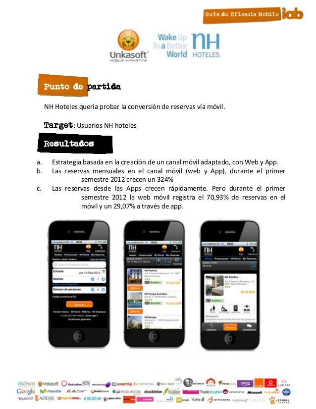 Punto de partida     NH Hoteles quería probar la conversión de reservas vía móvil.     Target: Usuarios NH hoteles     Res...