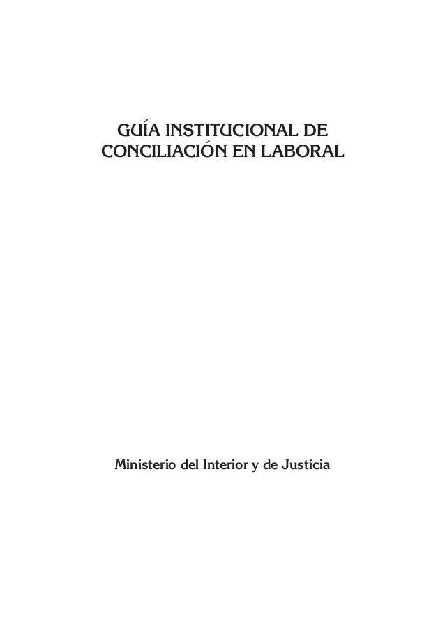 Gu a institucional de conciliaci n en laboral min justicia - Ministerio del interior y justicia ...