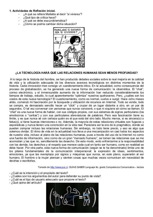 1. Actividades de Reflexión inicial. - ¿A qué se refiere Mafalda al decir - ¿Qué tipo de crítica hace? - ¿A qué se debe es...