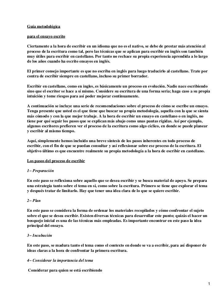 Guía metodológica para escribir un ensayo