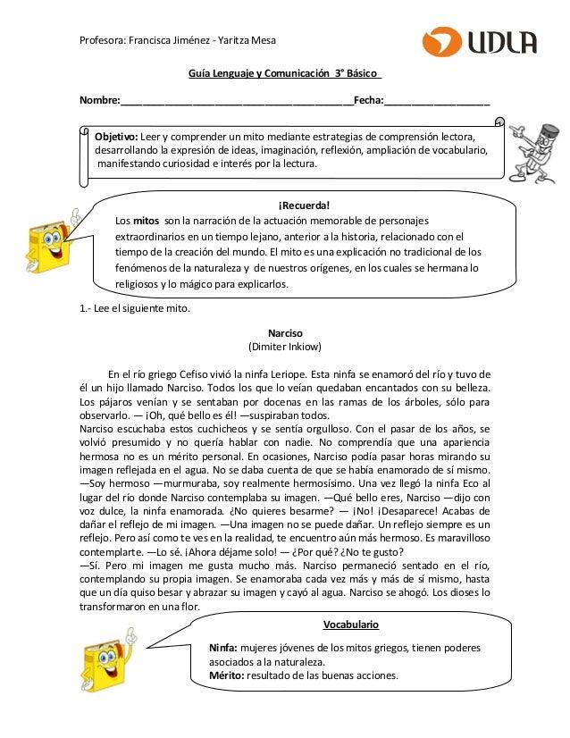 Profesora: Francisca Jiménez - Yaritza Mesa Guía Lenguaje y Comunicación 3° Básico Nombre:________________________________...