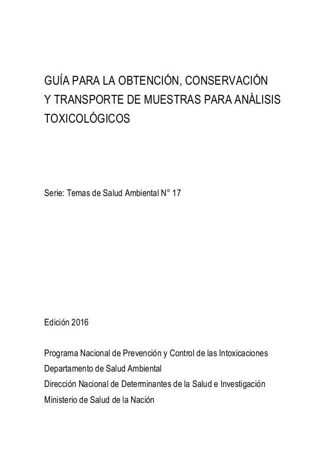 Guía para la Obtención, Conservación y Transporte de