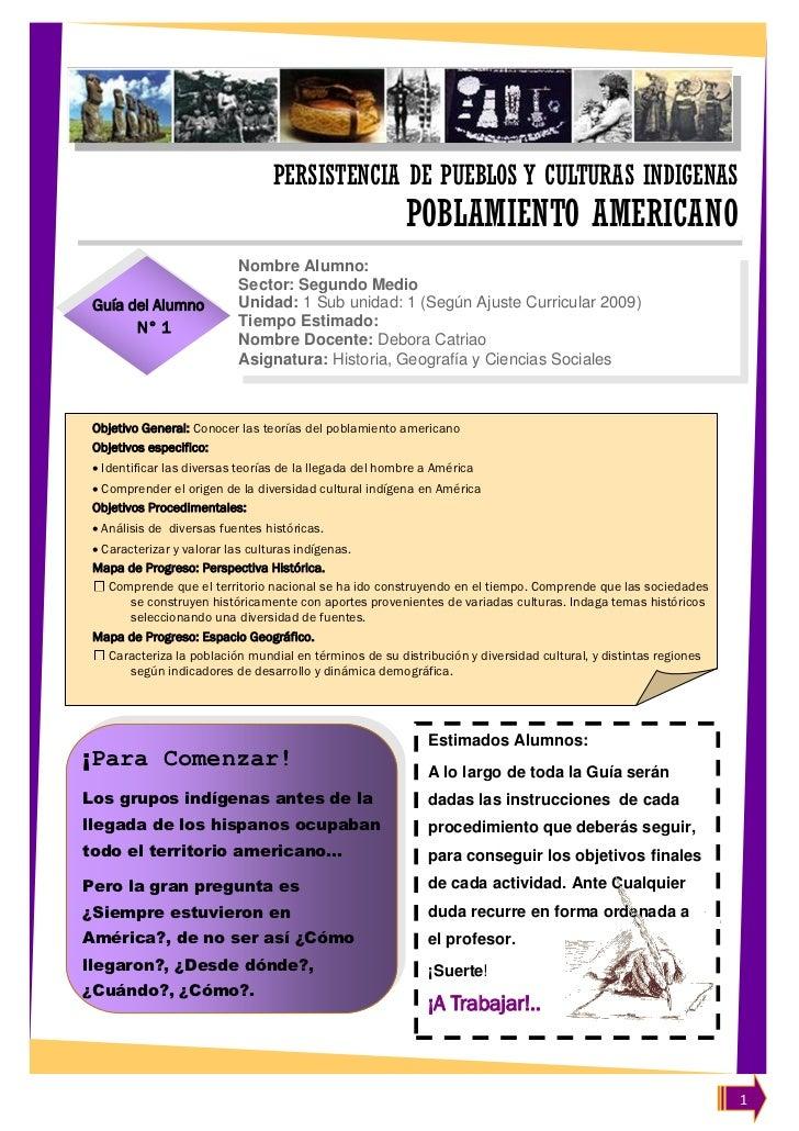 PERSISTENCIA DE PUEBLOS Y CULTURAS INDIGENAS                                                         POBLAMIENTO AMERICANO...