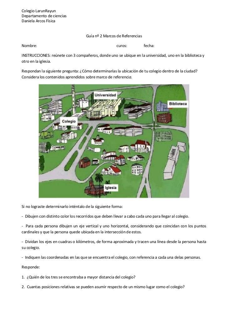 Colegio LarunRayunDepartamento de cienciasDaniela Arcos Física                                      Guía nº 2 Marcos de Re...