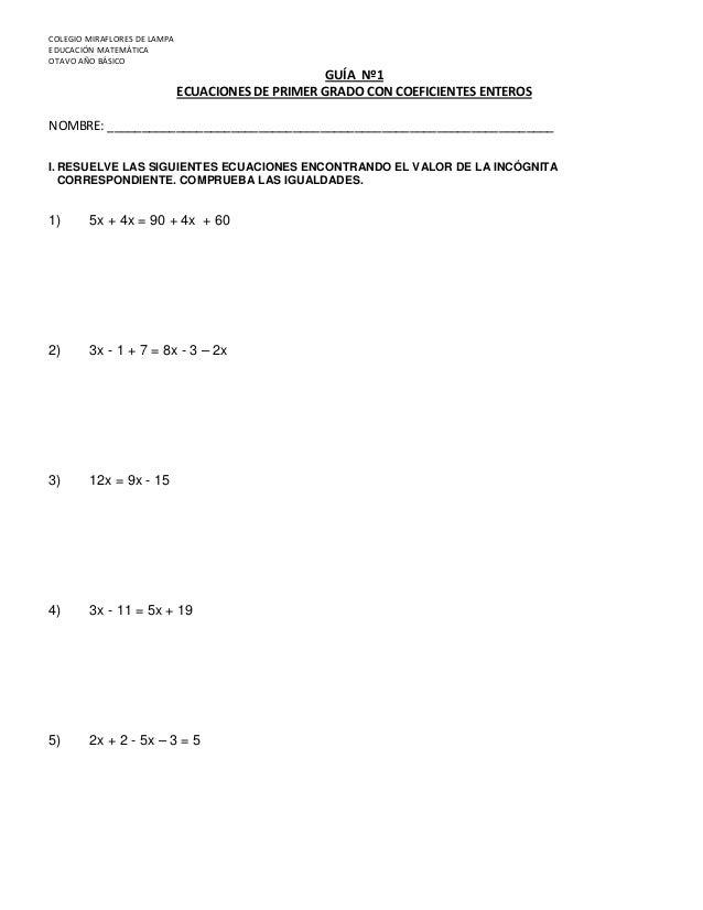 Gu a n ecuaciones 1 2 3 8 b sico for Ecuaciones de cuarto grado