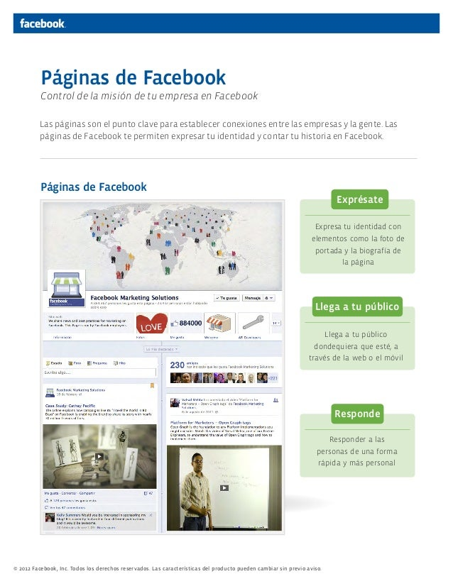 © 2012 Facebook, Inc. Todos los derechos reservados. Las características del producto pueden cambiar sin previo aviso. 1La...