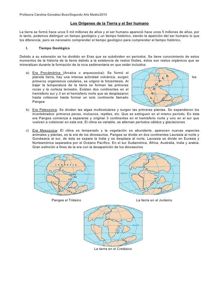 Profesora Carolina González Bozo/Segundo Año Medio/2010                                 Los Orígenes de la Tierra y el Ser...