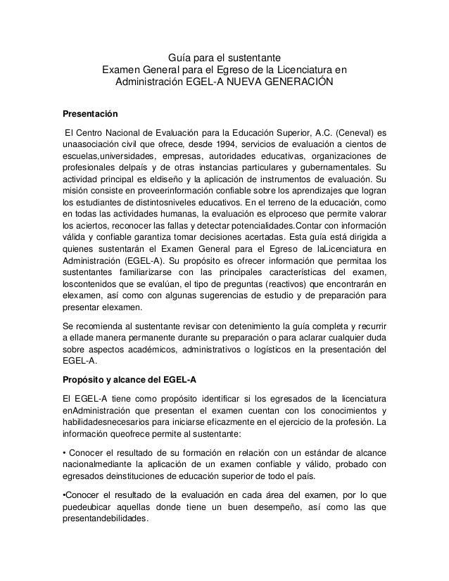 Guía para el sustentante Examen General para el Egreso de la Licenciatura en Administración EGEL-A NUEVA GENERACIÓN Presen...