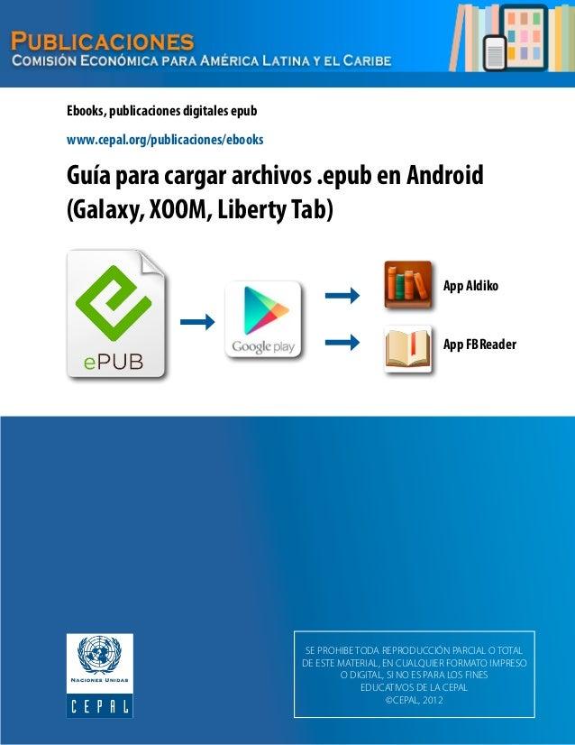 Guía para cargar archivos .epub en Android (Galaxy, XOOM, LibertyTab) Ebooks, publicaciones digitales epub App Aldiko App ...