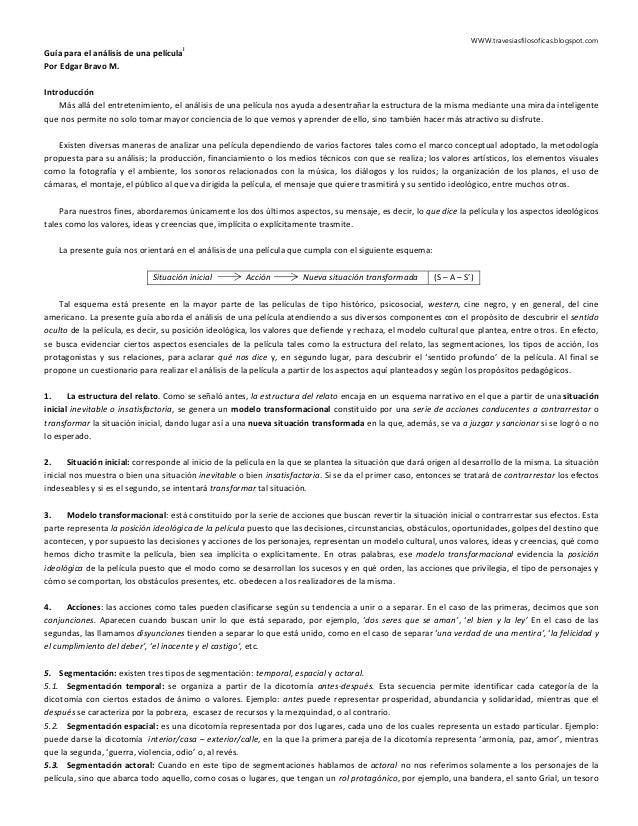 WWW.travesiasfilosoficas.blogspot.com Guía para el análisis de una película i Por Edgar Bravo M. Introducción Más allá del...