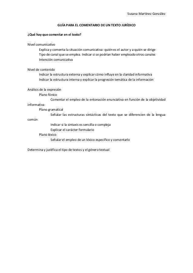 Guía Para El Comentario De Un Texto Jurídico