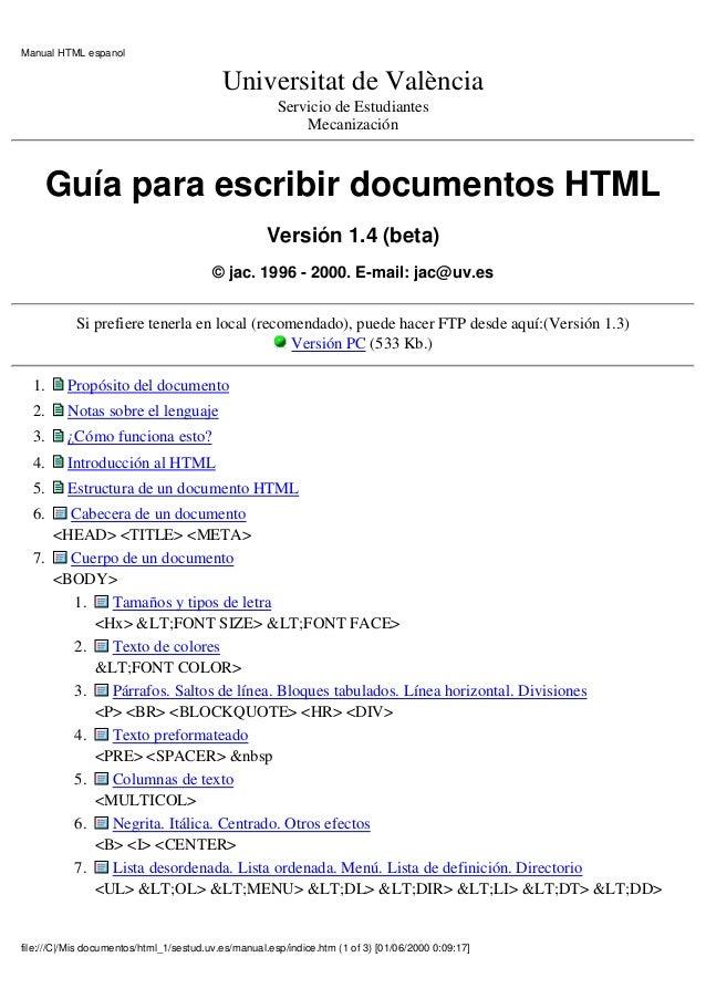 Manual HTML espanol                                           Universitat de València                                     ...