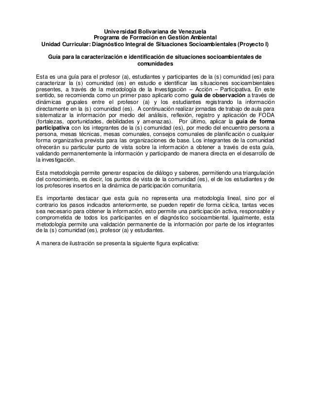 Universidad Bolivariana de Venezuela Programa de Formación en Gestión Ambiental Unidad Curricular: Diagnóstico Integral de...