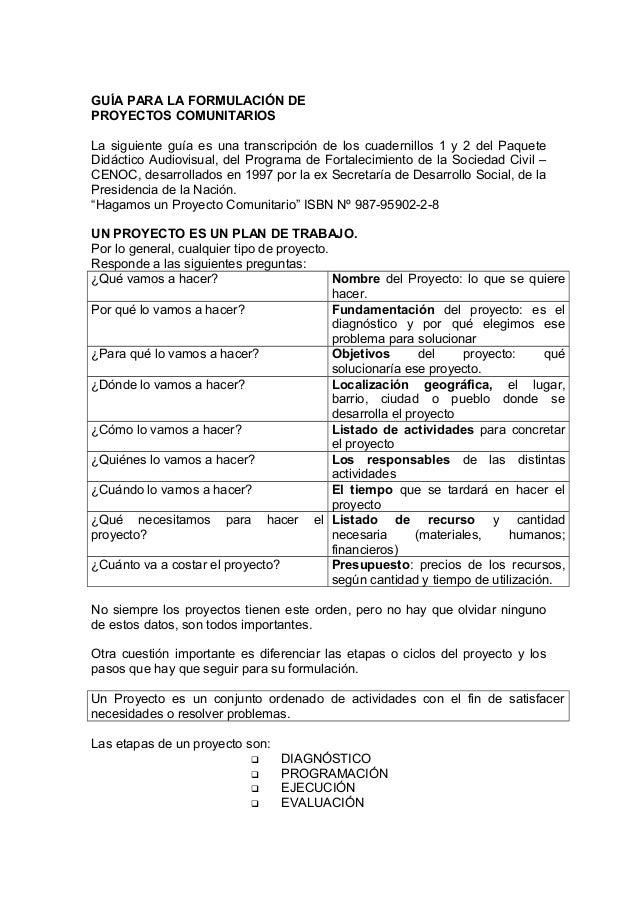 GUÍA PARA LA FORMULACIÓN DE PROYECTOS COMUNITARIOS La siguiente guía es una transcripción de los cuadernillos 1 y 2 del Pa...
