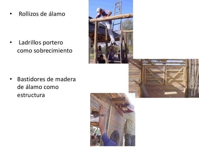 """5.- Cobertura • El techo es de barro y concreto, sobre una estructura constituida por vigas de caña guayaquil de 4"""" y caña..."""