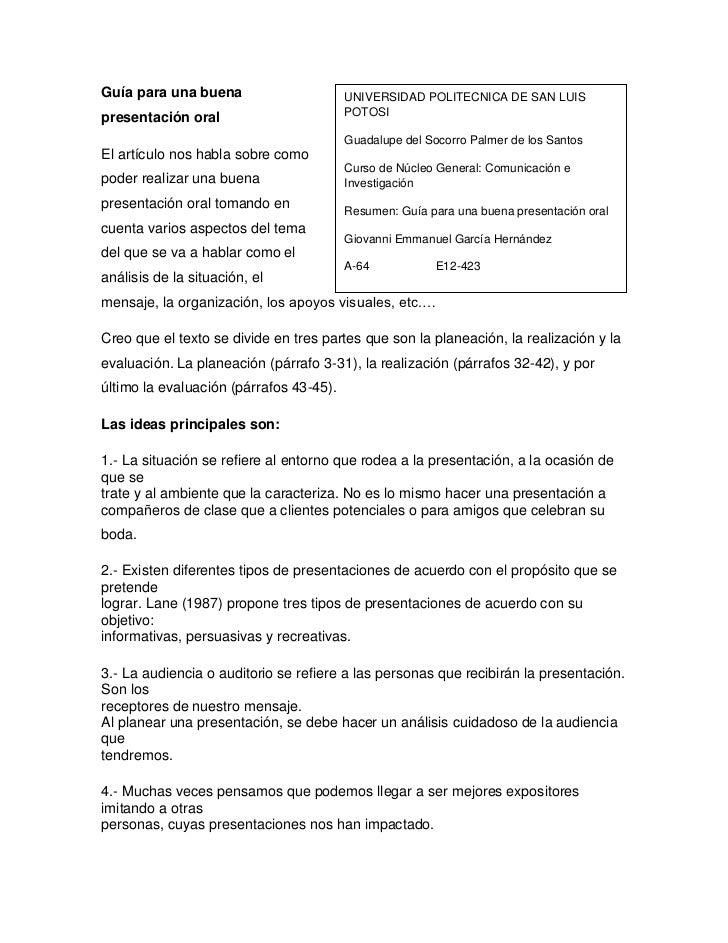 Guía para una buena                      UNIVERSIDAD POLITECNICA DE SAN LUISpresentación oral                        POTOS...