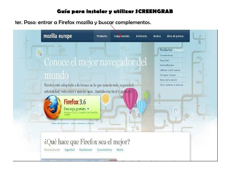 1er. Paso: entrar a Firefox mozilla y buscar complementos. Guía para instalar y utilizar SCREENGRAB