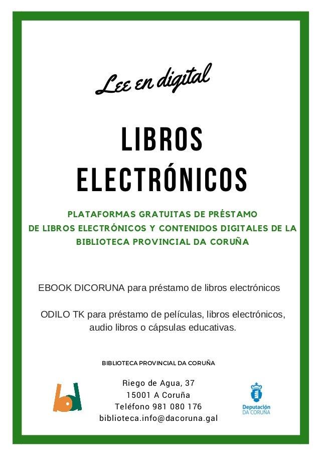 LIBROS ELECTRÓNICOS PLATAFORMAS GRATUITAS DE PRÉSTAMO DE LIBROS ELECTRÓNICOS Y CONTENIDOS DIGITALES DE LA BIBLIOTECA PROVI...