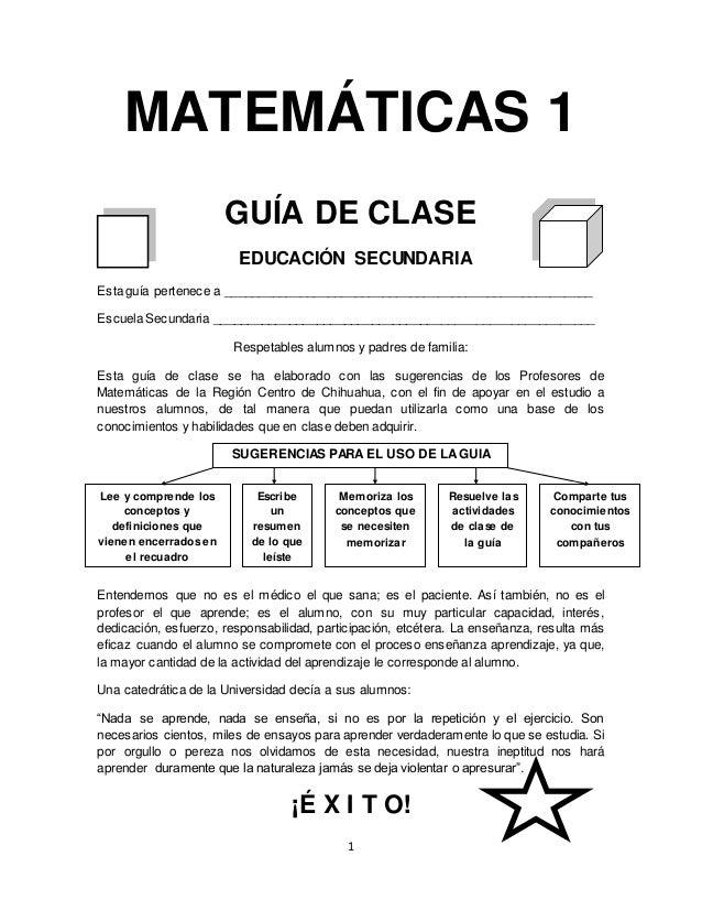 Guía de matemáticas primero bloque 1- ejercicios