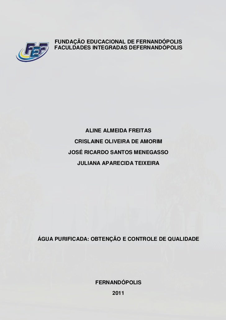 FUNDAÇÃO EDUCACIONAL DE FERNANDÓPOLIS     FACULDADES INTEGRADAS DEFERNANDÓPOLIS              ALINE ALMEIDA FREITAS        ...