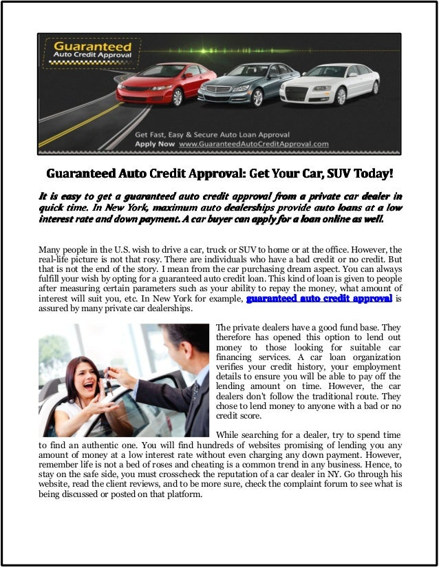 Guaranteed Auto Credit Approval Get Your Car Suv Today
