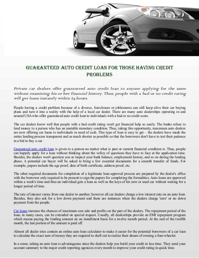 Guaranteed Auto Credit Loan For Those Having Credit Problems