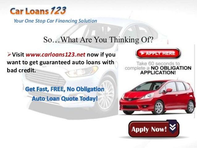 Guaranteed Auto Loan Approval Bad Credit