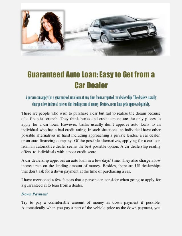 Guaranteed Auto Loan Easy To Get From A Car Dealer