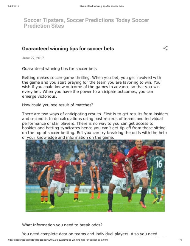 Tips on how to win soccer bet bet on vegas ad