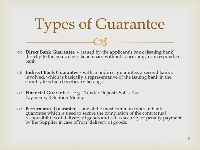 Different types of bank guarantees