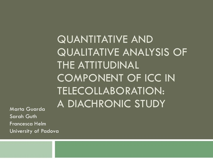 QUANTITATIVE AND QUALITATIVE ANALYSIS OF THE ATTITUDINAL COMPONENT OF ICC IN TELECOLLABORATION:  A DIACHRONIC STUDY Marta ...