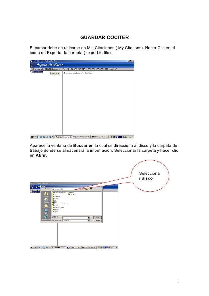 GUARDAR COCITER  El cursor debe de ubicarse en Mis Citaciones ( My Citations). Hacer Clic en el icono de Exportar la carpe...