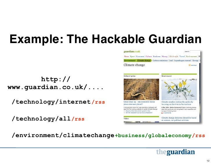 Example: The Hackable Guardian        http://www.guardian.co.uk/..../technology/internet /rss/technology/all /rss/environm...
