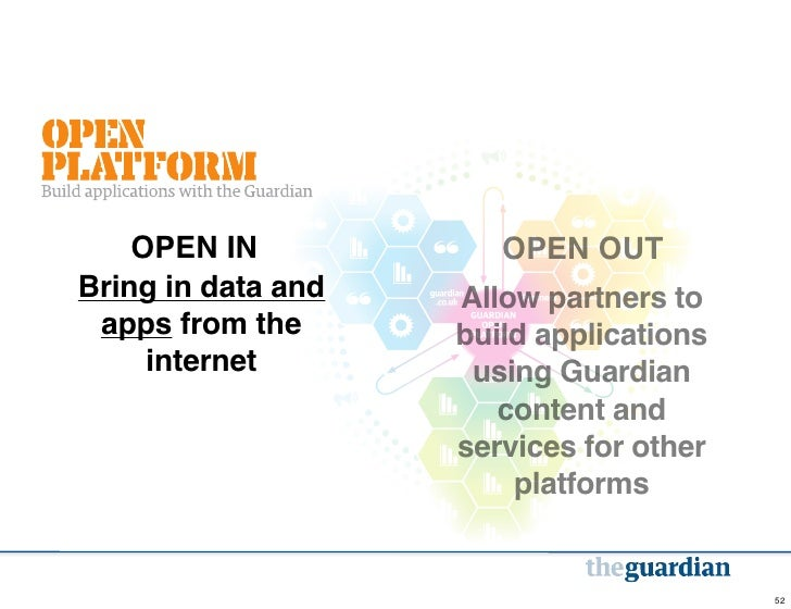 OPEN IN            OPEN OUTBring in data and   Allow partners to apps from the      build applications     internet       ...