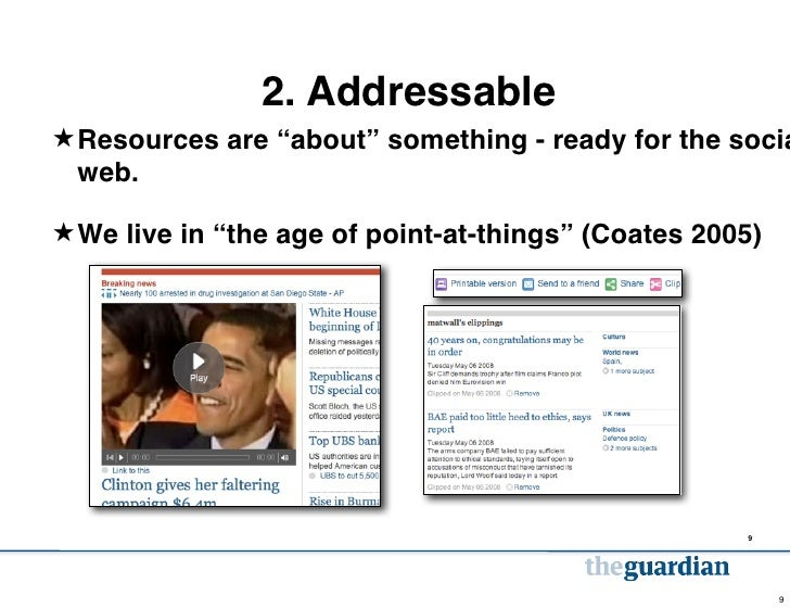 """2. Addressable★ Resources are """"about"""" something - ready for the socia  web.★ We live in """"the age of point-at-things"""" (Coat..."""