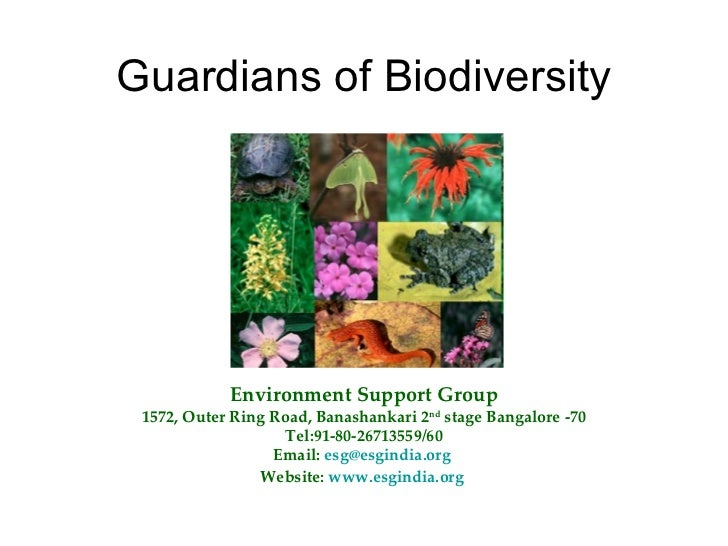 Guardians of Biodiversity Environment Support Group 1572, Outer Ring Road, Banashankari 2 nd  stage Bangalore -70 Tel:91-8...