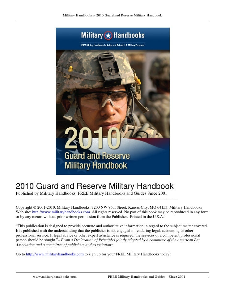 Military Handbooks – 2010 Guard and Reserve Military Handbook     2010 Guard and Reserve Military Handbook Published by Mi...